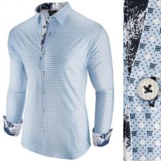Camasa pentru barbati albastru slim fit casual Patterned Jack