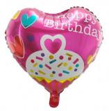 Balon in forma de Inima, 45cm, Happy Birthday, Heliu sau Aer