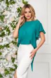Cumpara ieftin Bluza dama StarShinerS verde eleganta din voal cu croi larg cu maneca scurta si volanase