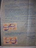 LOT 104 document 1949 cu timbre fiscale Stema RPR,Stema fara stea, Stampilat