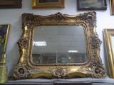 Oglinda cristal bizotat, rama din lemn masiv cu foita de aur secol XIX
