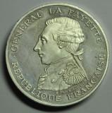 Franţa. 100 franci 1987 La Fayette. Piéfort de argint, Europa
