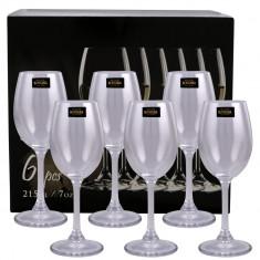 Set 6 pahare cristal vin alb Klara Bohemia, 215 ml