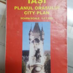 Iași, Planul orașului , Scara 1:13 000, Cu indexul străzilor, Hartă color, 1999