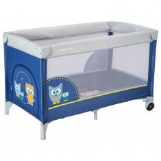 Patut cu 1 nivel Baby Mix HR-8052-173 Owls Blue