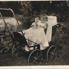 Fotografie veche copil carucior