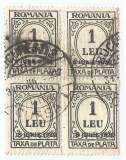 România, LP IV.15a/1930, Taxă de plată, supr. 8 IUNIE 1930, bloc 4, eroare, obl.