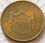 Moneda istorica 500 LEI - ROMANIA REGAT, anul 1945   *cod 5352 = UNC