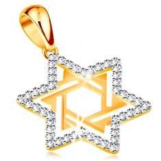"""Pandantiv realizat din aur 585 -""""Steaua lui David"""" decorata cu zirconii transparente si decupaje"""