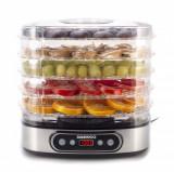 Deshidrator de alimente Daewoo DD500S, 500 W, 5 tavi, display digital, timer, ventilator integrat, Inox