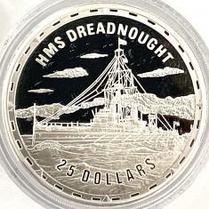 INSULELE SOLOMON 25 DOLLARS 2006 PROOF,(FIGHTING SHIPS-HMS DREADNOUGHT),AG.999