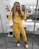 Trening dama casual galben din bumbac cu hanorac fashion si imprimeu YeSaintWest