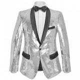 vidaXL Sacou de ocazie cu paiete pentru bărbați, mărime 52, argintiu
