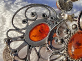 CERCEI argint cu CHIHLIMBAR AMBRA tip CHIORCHINE manopera EXCEPTIONALA de efect