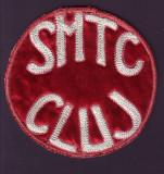 Anii '50 - Emblema vintage brodata Scoala Medie Tehnica de Comert S.M.T.C. Cluj