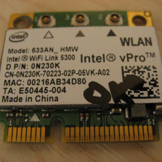 Placa wireless laptop Dell Vostro 2510, Intel WiFi Link 5300, 533AN_HMW, 0N230K