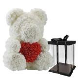 Ursulet din trandafiri de spuma, teddy bear alb inimioara rosie, 40 cm, handmade, cutie transparenta