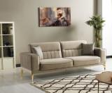 Canapea extensibila tapitata cu stofa, 3 locuri Nancy Velvet Bej / Auriu, l237xA88xH87 cm