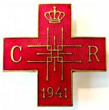 INSIGNA CRUCEA ROSIE SOCIETATEA REGINA ELENA 1941 SERIA 962REGALISTA INTERBELICA