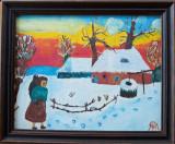 Tablou - pictură naivă semnată Martin Baur (1978)