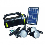 Kit solar GDLite, 10 W, 9000 mAh, boxa bluetooth, radio FM, 4 becuri incluse