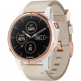 Smartwatch Fenix 5s Plus Sapphire Roz Si Curea Piele Alb, Garmin