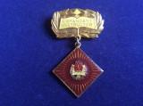 Insignă pionieri - Insignă România - Pionier Comandant Instructor (fond grena)