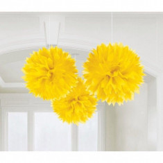Decoratiuni galbene pom pom Fluffy 40.6 cm set 3 buc