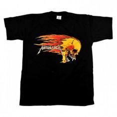 Tricou Metallica - craniu galben in flacari, L, M, S