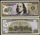 !!! SUA = FANTASY NOTE , PLAY  MONEY  =  100  DOLARI   2018  - UNC