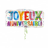 Balon folie figurina masina Joyeux Anniversaire - 83x40cm, Amscan 31637