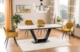 Cumpara ieftin Set masa extensibila din ceramica, MDF si metal Armani Alb / Negru + 4 scaune tapitate cu stofa Cherry Velvet Mustariu / Negru, L160-220xl90xH76 cm