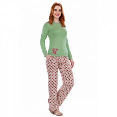 Pijama femei maneca lunga 3055 Verde L