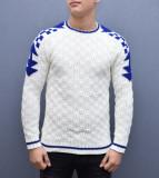 Pulover barbati alb slimfit cu impreumeu albastru din tricotaj, L, M, S