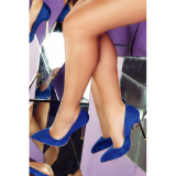 Pantofi Caroline Albastri Piele Intoarsa, 35 - 40