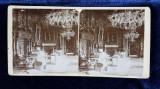 SALONUL ALBASTRU DIN CASTELUL PELES - SINAIA , FOTOGRAFIE STEREOSCOPICA PE SUPORT DE CARTON , MONOCROMA, CCA. 1900