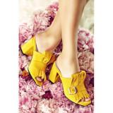 Papuci dama din piele naturala cu toc Stardust Galbeni