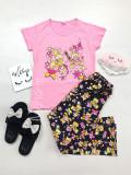 Pijama dama ieftina din bumbac cu tricou roz si pantaloni negri cu imprimeu Ursuleti