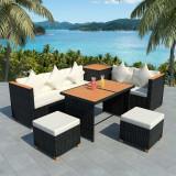 Set mobilier de exterior 22 piese, poliratan, blat WPC, negru