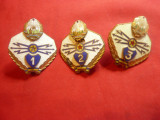 Set 3 Insigne Militare de Transmisionisti ,metal si email , h=3,7cm