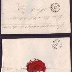 1864 Romania, Scrisoare veche BUCURESCI - BUZAU 8 stampila agrafa BUDEU, sigiliu