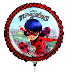 Balon Mini Folie Miraculous, 23 cm, umflat + bat si rozeta, 37793
