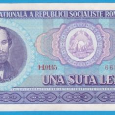 (10) BANCNOTA ROMANIA - 100 LEI 1966, PORTRET NICOLAE BALCESCU,STARE FOARTE BUNA