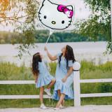 Balon Hello Kitty, 45x45 cm, figurina din folie, umplere aer si heliu