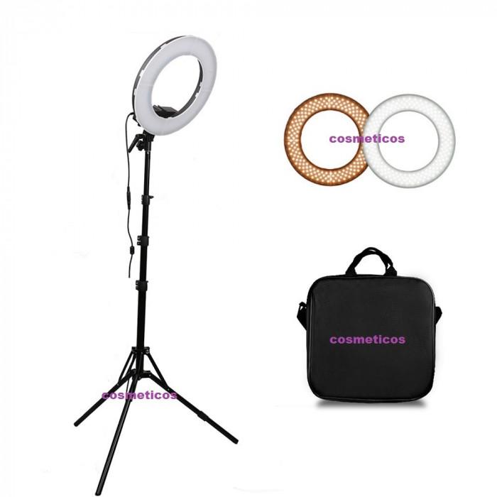 Lampa circulara LED lumina rece/calda, trepied geanta, Ring Light 35cm, make up