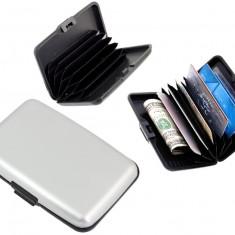 Portofel elegant pentru carduri sau documente - carcasa din aluminiu, culoare Argintiu, Port card