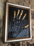 Tablou original abstract modelaj lut pictura reliefata placat foita aur inramat, Ulei, Realism