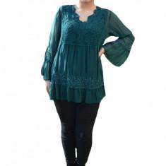 Bluza Amalia cu insertii de broderie si decolteu in V ,nuanta de verde