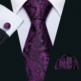 Set cravata + batista + butoni - matase naturala 100% - model 13