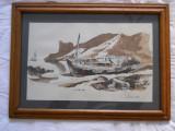 "I. Mihai ""Lotca la mal"",desen tus/laviu,1989,35,5x49cm,rama stejar,pp,sticla, Marine, Cerneala, Realism"